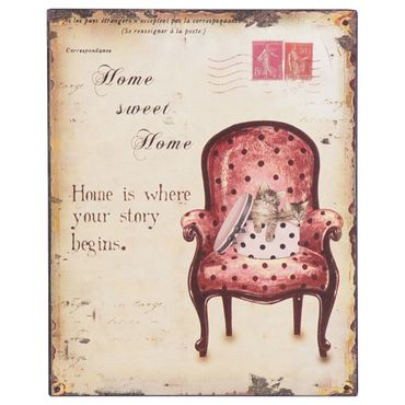 Decoration sign tin cats wall SWEET HOME retro nostalgic 9.8x7.9in