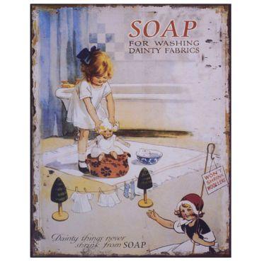 "Tin sign wall decoration ""Soap For Washing Dainity Fabrics"" advertisment girl nostalgic 7.9x9.8in"
