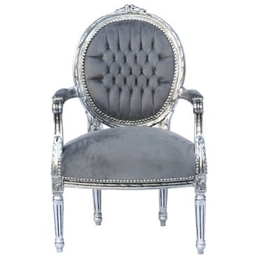 Baroque Style Dining Room Chair Armrest Silver Wood Frame Grey Velvet Cushions – image 1