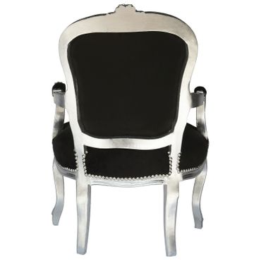 Dining Room Chair Luxurious Black Velvet Cushions Silver Wood Frame – image 4