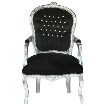 Dining Room Chair Luxurious Black Velvet Cushions Silver Wood Frame – image 1