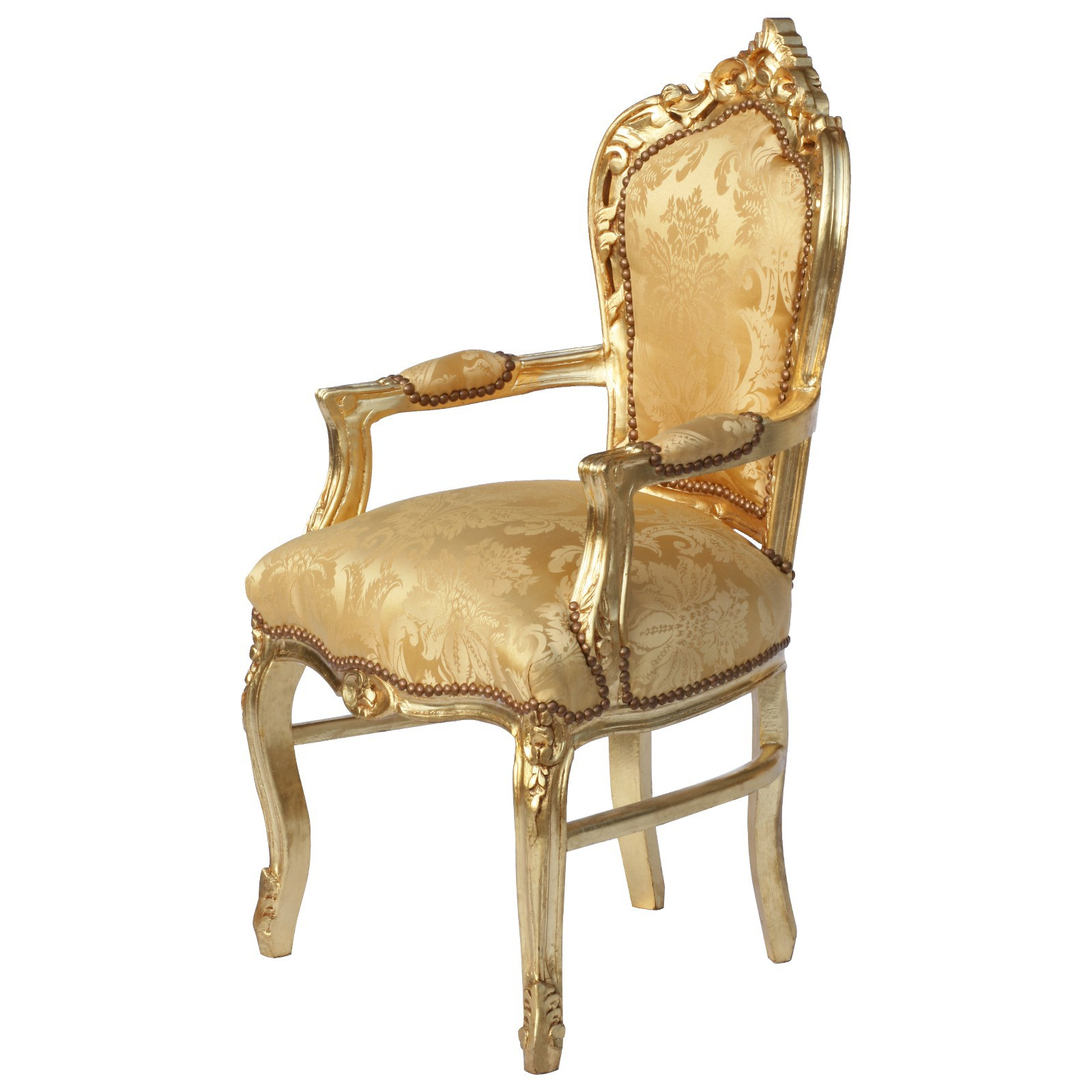 Baroque Armrest Dining Chair LEA - Gold Wooden Frame luxury-pure ...