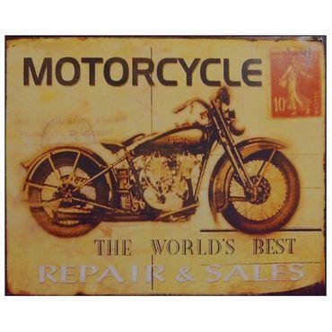 Tin sign bike MOTORCYCLE biker fan repair and sales workshop nostalgic decoration