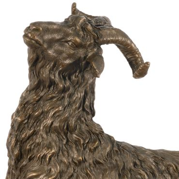 Bronze Majestic Goat with Horns Hand Polished – image 2