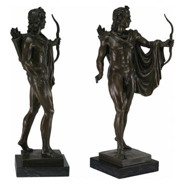 Bronze figurine nude archer bowman quiver bow arrows collectable art marble – image 4