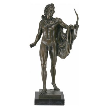 Bronze figurine nude archer bowman quiver bow arrows collectable art marble – image 1