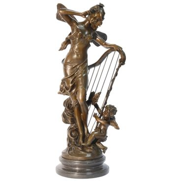 A fantasy fairy tale Bronze figure of elf woman angel with harp – image 1