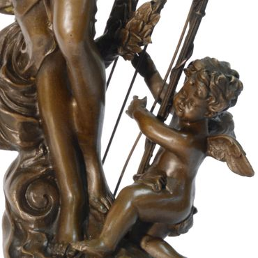 A fantasy fairy tale Bronze figure of elf woman angel with harp – image 4