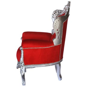 Flamboyant Red Throne Armchair with Silver Real Wood Frame Baroque Furniture – image 3