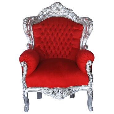 Flamboyant Red Throne Armchair with Silver Real Wood Frame Baroque Furniture – image 1