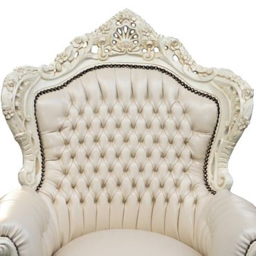 All Beige Majestic Throne Armchair Baroque Living Room Furniture – image 2