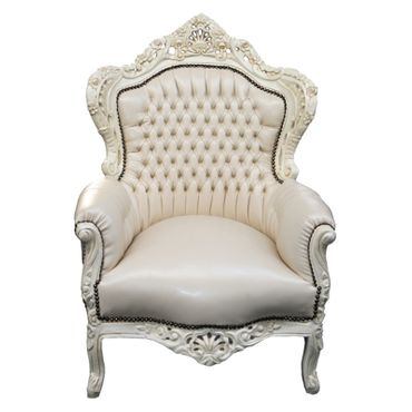 All Beige Majestic Throne Armchair Baroque Living Room Furniture – image 1