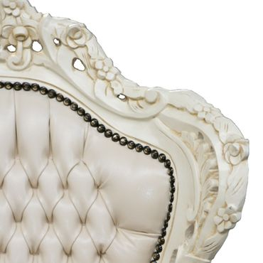 All Beige Majestic Throne Armchair Baroque Living Room Furniture – image 3