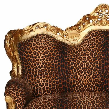 Baroque Style Sofa Leopard Print Gold Wood Frame – image 1