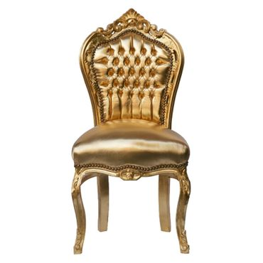 Glamorous Gold Baroque Dining Room Chair Solid Wood Frame
