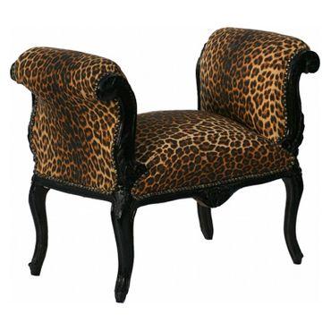 Sitzbänke aus Holz schwarze Barock Sitzbank Leopard – Bild 3