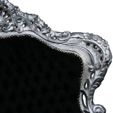 Baroque style Throne Armchair, Silver wood Frame with Black Velvet cushions – image 5