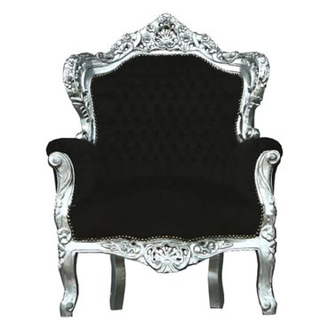 Baroque style Throne Armchair, Silver wood Frame with Black Velvet cushions – image 1