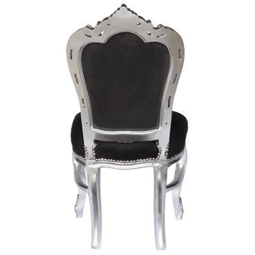 Dining chairs, silver-leafed solid wood black velvet – image 4