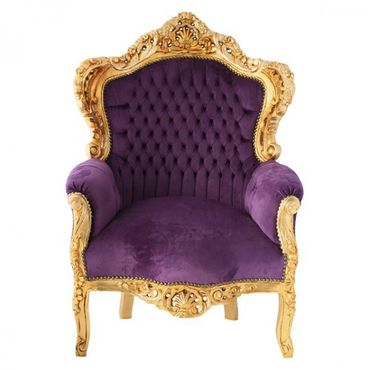 Living Room Throne Armchair Baroque Design Purple Velvet Gold Solid Wood – image 1