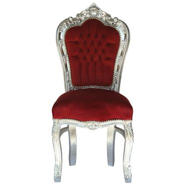 Wood dining chairs, in vibrant red with solid wood silver-leafed frame  – image 1