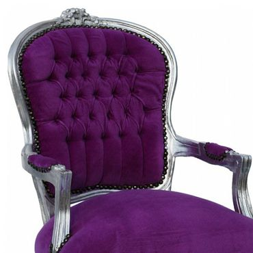 Shabby chic, side chair with solid wood silver-leafed frame in purple – image 6