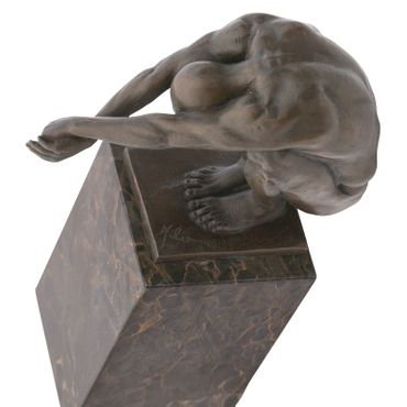 Naked man crouching bronze sculpture signed by artist – image 5