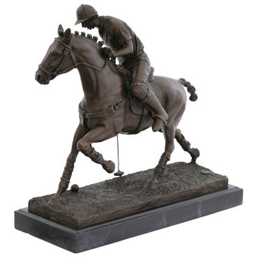 Polo rider on horse bronze sculpture with marble slab – image 3