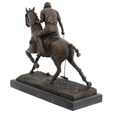 Polo rider on horse bronze sculpture with marble slab – image 4