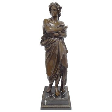 Man Augustus Repro bronze statue on marble