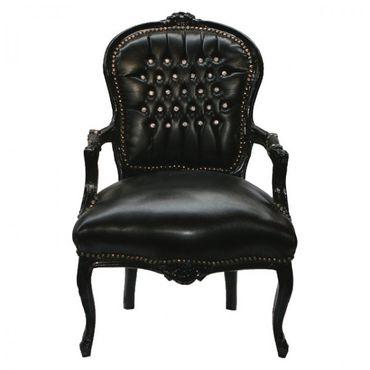 Elegant Living Room Chair Black Leatherette Black Wood Frame Baroque Style – image 1