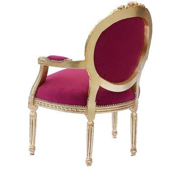 Classic Baroque Style Medallion Splat Red Velvet Gold Frame Living Room Chair – image 3