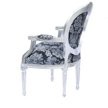 Beautiful Living Room Office Chair Classic Black Grey Design Silver Wood Frame – image 4