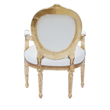 Elegant Living Room Chair White Leatherette Gold Wood Frame Baroque Style – image 5