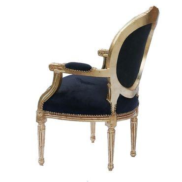 Elegant Living Room Chair Black Leatherette Gold Wood Frame Baroque Style – image 5