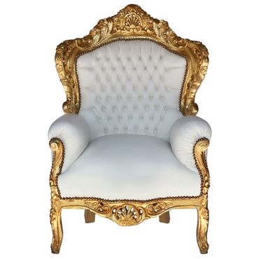 Baroque style Throne Armchair Gold wood Frame White leatherette cushions – image 1