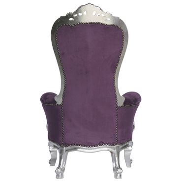 Imperial High Splat Throne Armchair Purple Velvet Silver Solid Wood Frame – image 4