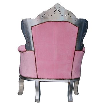 Throne Armchair Pink Leatherette Silver Wood Frame Baroque Style Bedroom Chair  – image 4