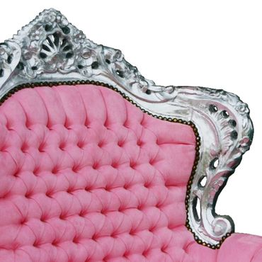 Throne Armchair Pink Leatherette Silver Wood Frame Baroque Style Bedroom Chair  – image 5
