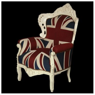 Plump Union Jack Print Throne Armchair White Wood Frame Antique Baroque Style – image 2