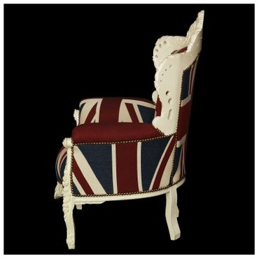 Plump Union Jack Print Throne Armchair White Wood Frame Antique Baroque Style – image 3