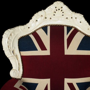 Plump Union Jack Print Throne Armchair White Wood Frame Antique Baroque Style – image 5