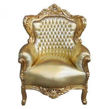 Baroque Living Room Bedroom Throne Armchair Gold Leatherette Gold Wood Frame – image 1