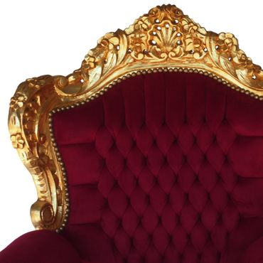 Deep Red Velvet Gold Solid Wood Frame Baroque Style Living Room Bedroom Chair – image 5