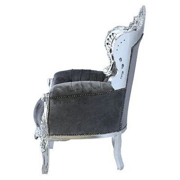 Royal Armchair Throne model Silver Wood Frame Grey Velvet Soft Cushioning – image 3