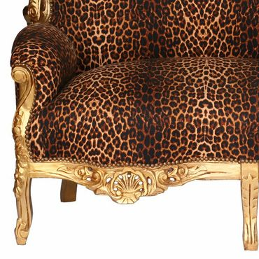 Baroque Style Sofa Leopard Print Gold Wood Frame – image 2