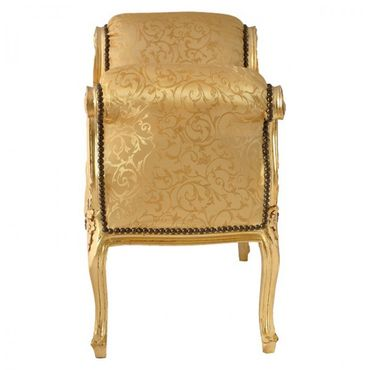 Elegant Furniture Gold Fabric Baroque Style Bench with Armrest Gold Wooden Frame – image 3