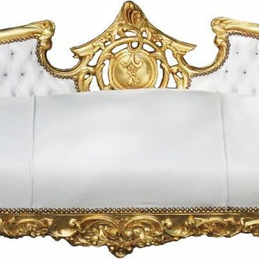 Exquisite Baroque Living Room Sofa White Leatherette Gold Hand Carved Wood Frame – image 2