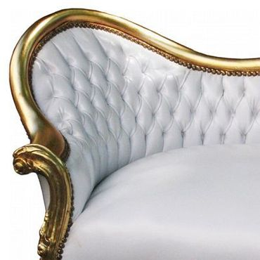 Exquisite Baroque Living Room Sofa White Leatherette Gold Hand Carved Wood Frame – image 5