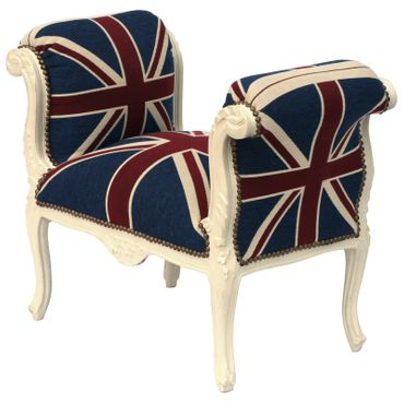 Baroque style Bench with armrest, White wood Frame with UK Flag cushions – image 2